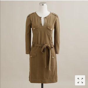 J. Crew Olive Herringbone Cargo Dress Sz M
